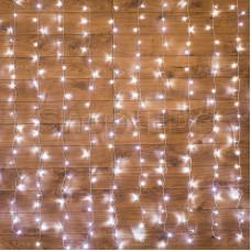 """Гирлянда """"Светодиодный Дождь"""" 1,5х1м, свечение с динамикой, прозрачный провод, 220В, диоды БЕЛЫЕ"""